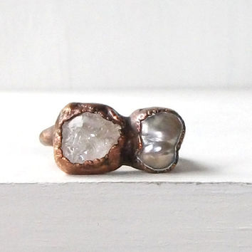 Pearl Ring Morganite Ring Gemstone Ring Birthstone Ring Cocktail Ring Iridescent Ring June Birthstone Raw Gem Artisan Handmade