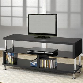 Black tempered glass and Chrome finish accents TV stand