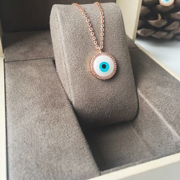 Evil eye necklace, mother of pearl charm necklace, rose gold clover necklace