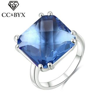 CC Jewelry Rings For Women Fashion Jewelry 925 Sterling-silver-jewelry Bridal Wedding Engagement Blue Glass Stone Ring CC613
