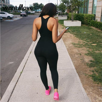 sexy women 2017 summer style backless sleeveless plus size S-XL athletics skinny jumpsuits and rompers for women jumpsuits XD642