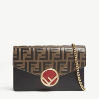 FENDI Logo-detailed leather shoulder bag