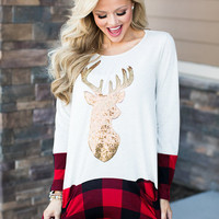Reindeer and Plaid Pocket Tunic