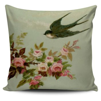 Vintage Swallow and Roses Pillow Cover Home Decor by Farmhouse Vintage Chic