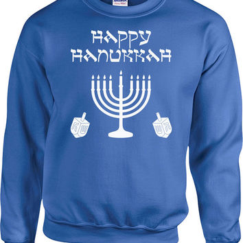 Happy Hannukah Sweater Chanukah Jewish Gifts For Hanukkah Holiday Jumper Israel Clothing Holiday Pullover Menorah Dreidel Hoodie - SA688
