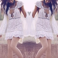 Sexy Hollow Out White Lace Dress
