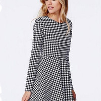 Houndstooth Long Sleeve Shirtwaist A-line Mini Skater Dress
