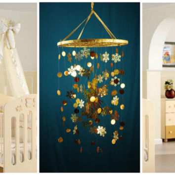 Gold snowflakes Baby Mobile handmade Gold Dreamcatcher bedroom gold Baby Mobiles bedding DreamCatcher Christmas gift snowflakes gold balance