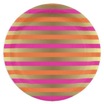 Pink, Orange & Faux Metallic Gold Stripes Paper Plate