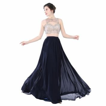 Women's 2 Piece Boat Neck A Line Chiffon Long Beaded Crop Top Prom Party Dress