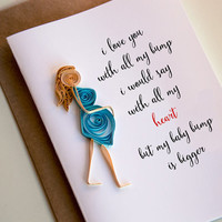 Funny father's day card -pregnancy love card - card for expectant father - new dad card - I love you with all my bump card -i love you card