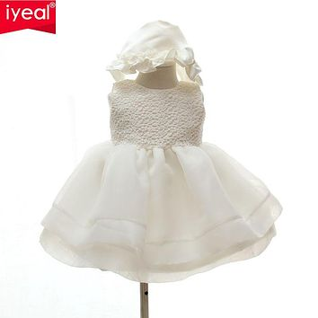 High Quality Baby Girls Elegant Communion Dresses NEW 2016 Child Sleeveless Princess White Party Wedding dress Christening Gown