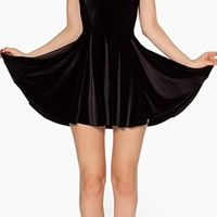 Black Velvet Round Neck Cap Sleeve Fitted Pleated Bell Fare Skater Mini Dress
