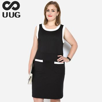 7xl 6xl 5xl Office Work Dresses Women Plus Size 2017 Summer Dress Casual Midi Knee-length Oneck Sleeveless Pocket Formal Vintage