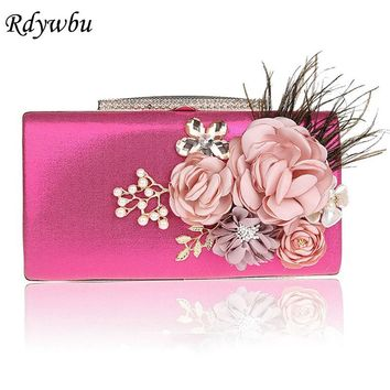 Rdywbu 2017 Luxury Handmade 3D Flower Evening Bag Crystal Beading Clutches Feather Wedding Party Purse Handbag Chain Bolso B390