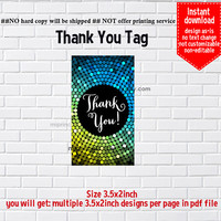 Instant Download, glitter, #5 disco ball, thank you tag, thank you gift , elegant TAG, 3.5x2inch printable , non-editable NOT CUSTOMIZABLE