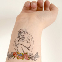 Temporary Tattoo - Chimpanzee and baby, Mother, Stocking Stuffer, For mom, Mothers day, Floral