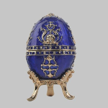 Blue Faberge Egg Music Box Handmade by Keren Kopal  Decorated with Swarovski Crystals Gold Plated Enamel Painted