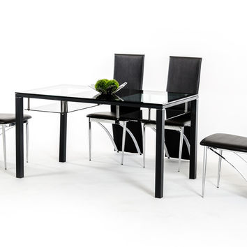 Modrest CT71 Modern Black 5 pcs Dining Table w/ Glass Top Set