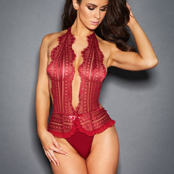 Calista Lace Halter Teddy