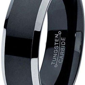 6mm Tungsten Wedding Band Ring for Men Women Comfort Fit Black Grey Beveled Edge Brushed Polished