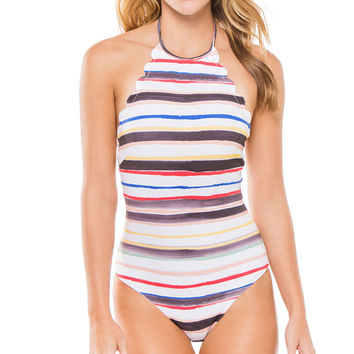 Sexy Colours Striped Halter Push Up One Piece Swimwear Bodysuitsr