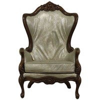 Pre-owned Iridescent Leather Wing Back Chair