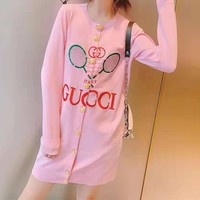 """""""Gucci"""" Women Fashion Embroidery Letter Long Sleeve Bodycon Buttons Round Neck Knitwear"""