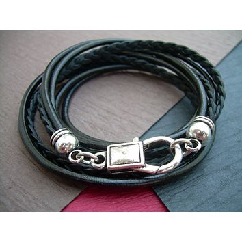 Leather Bracelet, Triple Wrap, Unisex, Mens, Womens, Black and Antique Silver, Mens jewelry, Mens Bracelet, Womens Jewelry, Womens Bracelet
