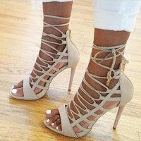 Sexy hollow out fish head high heels sandals