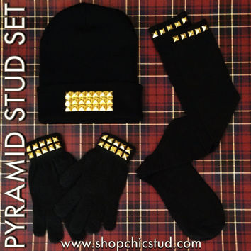 HOLIDAY 3 Piece GIFT SET - Studded Beanie, Studded Gloves, Studded Knee Socks - Silver or Gold Studs