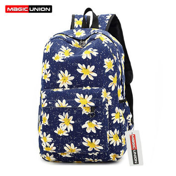 MAGIC UNION Fashion Women Backpack Canvas Woman Printing Backpack HighQuality Ladies School Backpack Women Shoulder Bags mochila
