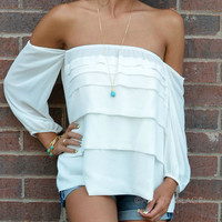 Warm Breeze Off White Open Shoulder Ruffle Top