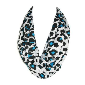 CTM® Womens Bright Animal Print Infinity Loop Scarf, Cobalt