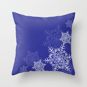 Blue & White Snowflakes Throw Pillow by KJ53321 | Society6
