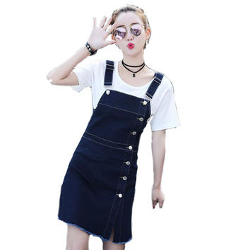Summer Sexy denim dresses women Vestido jeans feminino A-line dress Sleeveless Cheap clothes china Jeans dress