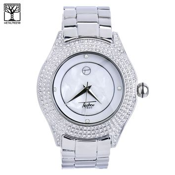 Jewelry Kay style Men's Fashion CZ Icy Techno Pave Hip Hop Silver Toned Metal Band Watch WM 8004 S