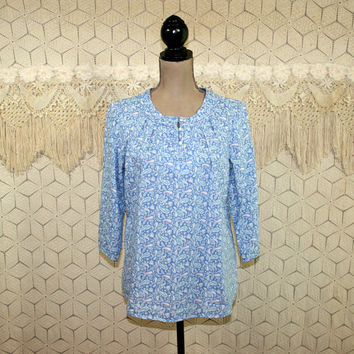 Blue Paisley Peasant Blouse Hippie Shirt Cotton Tunic Top Medium Crop Sleeve Casual Print Loose Fit LL Bean Vintage Clothing Womens Clothing