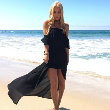 Bayshore Off Shoulder Romper Maxi In Black