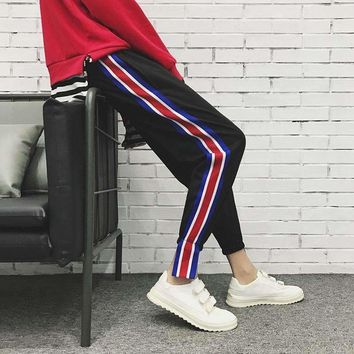 2018 Summer new joggers men hiphop track pants men's printing casual lovers stripe harlan movement black trousers sweatpants
