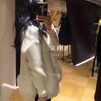 New Autumn Turtleneck Ostrich Fur Feather Sweater rabbit fur Women Loose Style Solid Color Knit Sweater Long Sleeve Female