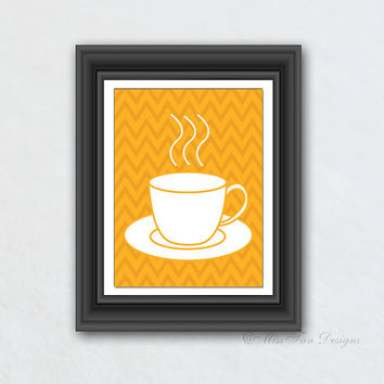 Coffee Kitchen Print, Morning Cup of Joe, Solid Color, Kitchen Decor, Digital Art, Chevron Pattern, Your Choice of Any Background