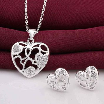 online shopping india silver jewelry set heart hollow web Necklace+earrings prices in euros