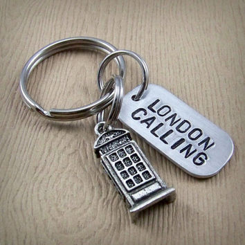 London Calling Keychain - British Phone Booth Charm - Handstamped Graduation Gift - Travel Keyring - Handmade Aluminum London Key Chain