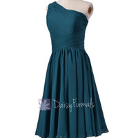 Peacock Teal One-Shoulder Knee Length Bridal Party Formal Dress(BM351)