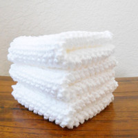 Knit White Cotton Dishcloths, Set of Three - Kitchen Linens - Housewarming Gift - Kitchen Dish Cloths - Knit Dish Rags