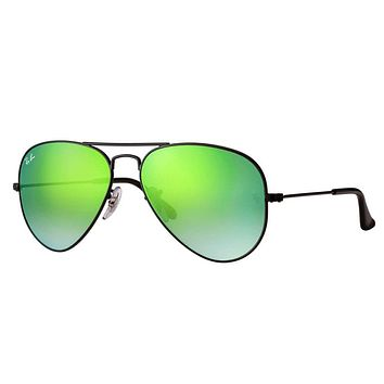 Cheap Ray Ban RB3025 002/4J 58mm Black Green Gradient Flash Aviator Sunglasses