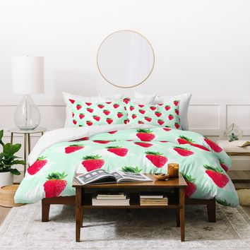 Jacqueline Maldonado Watercolor Strawberries Duvet Cover