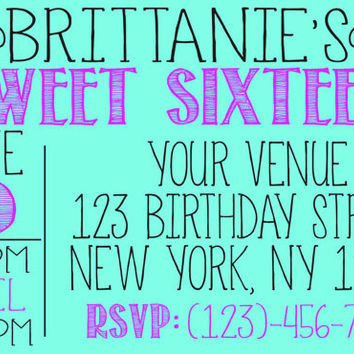 DIY Trendy Sweet Sixteen Invitation (More Colors Available)