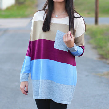 Striped Color Block Sweater {Cobalt+Berry}